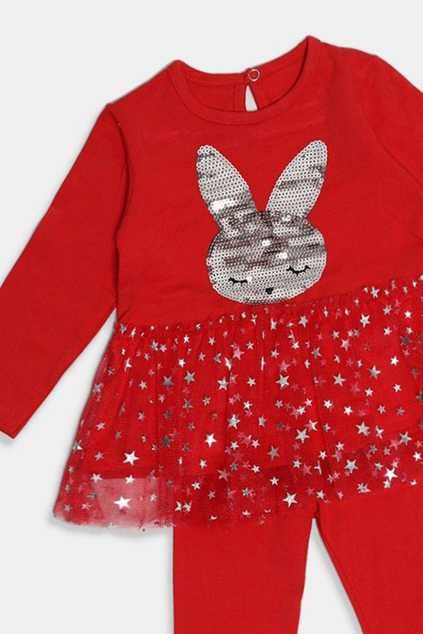Red Sequin Bunny Embellished Baby Girl Set