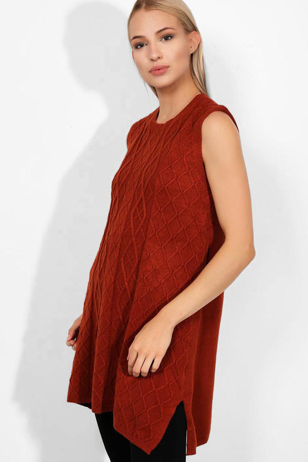 Brick Cable Knit Sleeveless Dress - SinglePrice