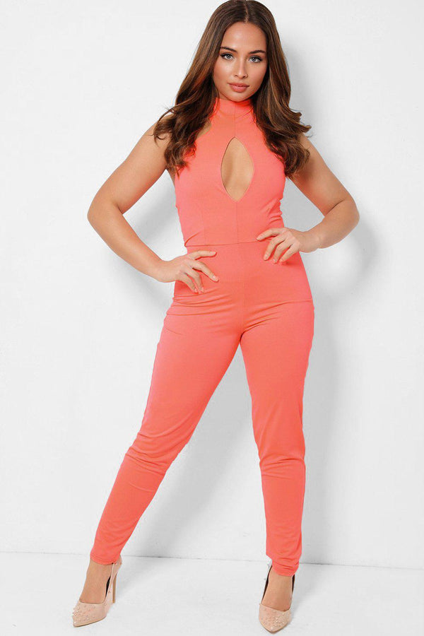 Highlighter Coral Peek-a-Boo Halter Neck Catsuit-SinglePrice