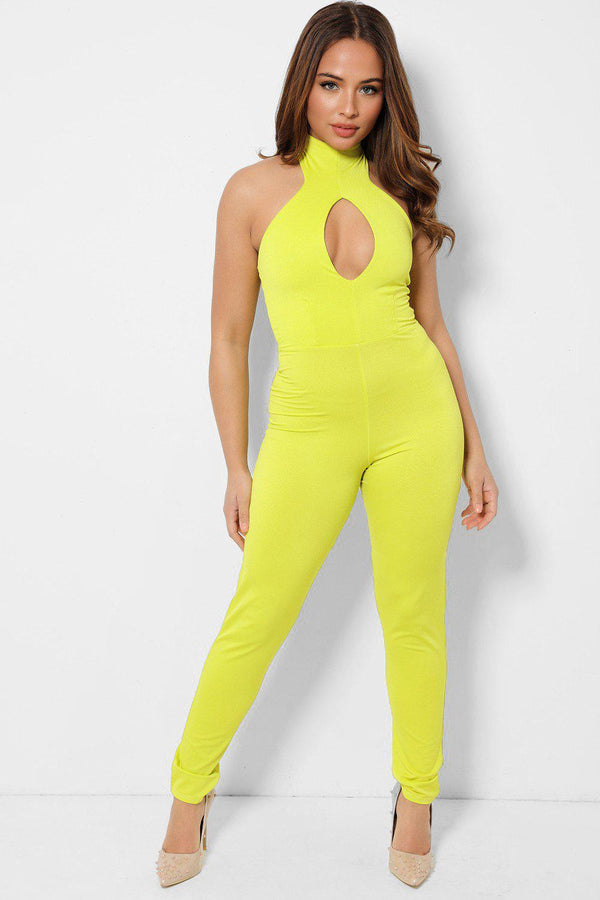 Highlighter Yellow Peek-a-Boo Halter Neck Catsuit-SinglePrice