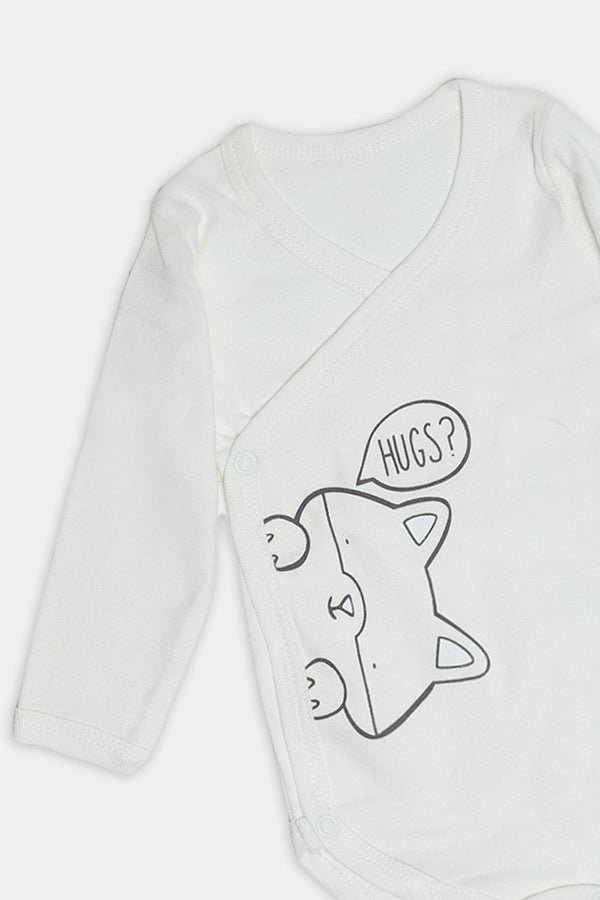 Cream Kitty Hugs Print Baby Body-SinglePrice
