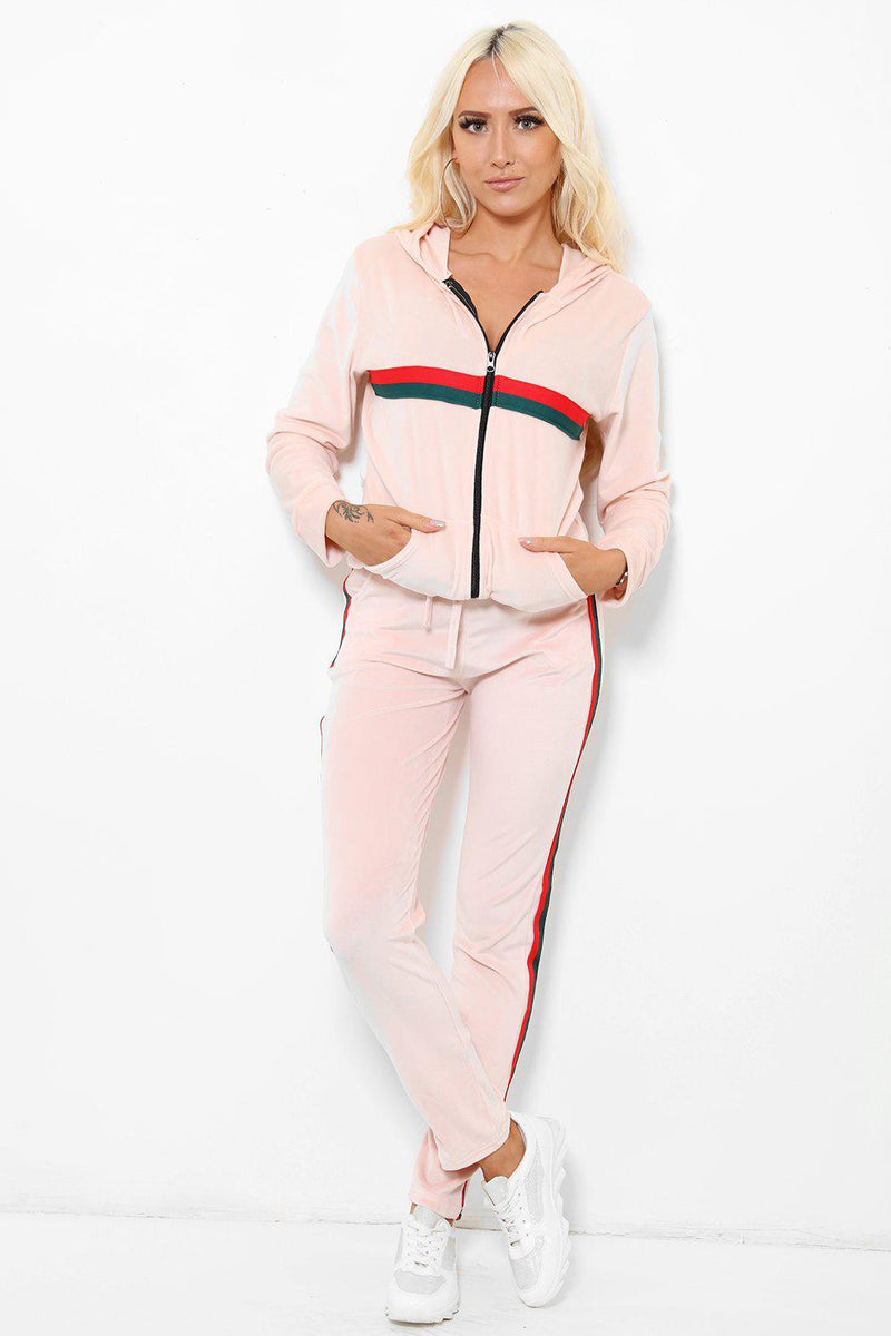 Red And Green Stripe Pink Velour 2 Piece Tracksuit - SinglePrice