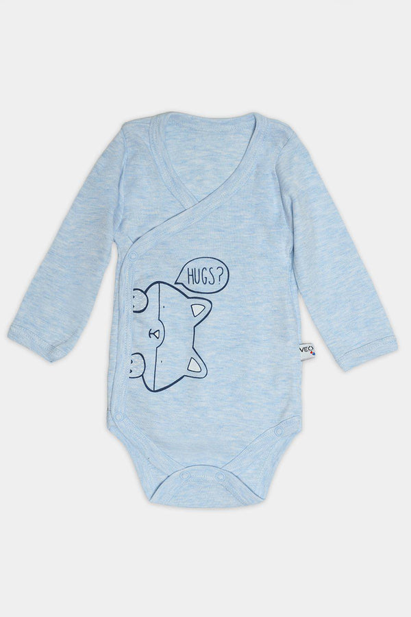 Blue Kitty Hugs Print Baby Body