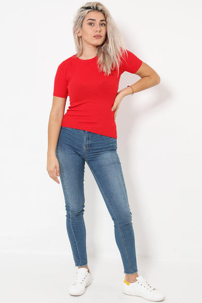 Short Sleeve Ribbed Jersey Red T-Shirt-SinglePrice