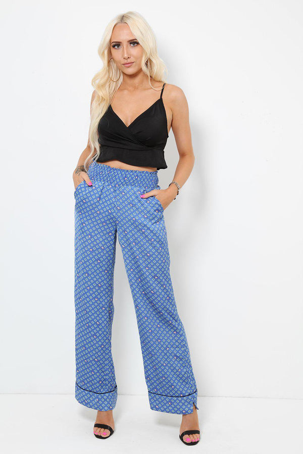 Printed Satin Blue Green Palazzo Pants - SinglePrice