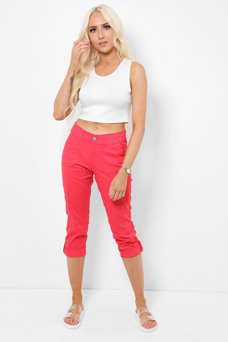 Turned Up Hem Rose Capri Trousers - SinglePrice
