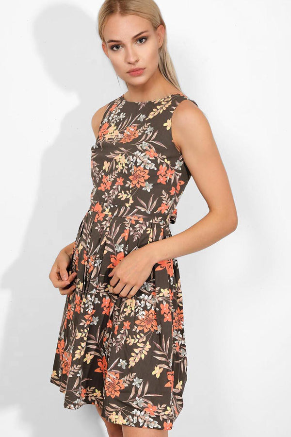 Taupe Floral Print Pleated Skirt Sleeveless Midi Dress - SinglePrice