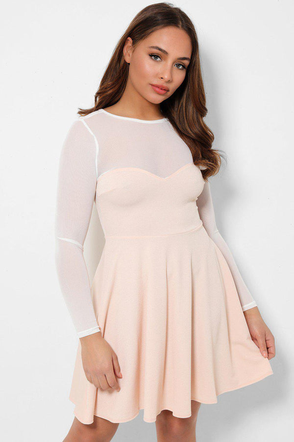 Baby Pink Sheer Net Sweetheart Skater Dress-SinglePrice