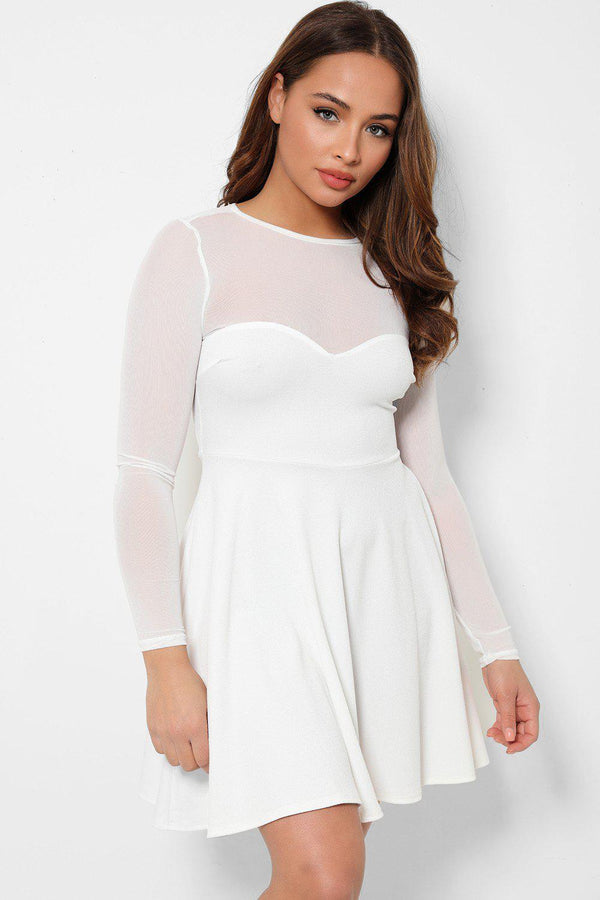 White Sheer Net Sweetheart Skater Dress-SinglePrice