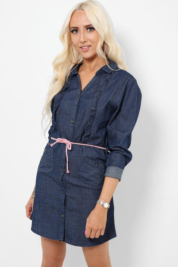 Dark Blue Frill Detail Denim Shirt Dress-SinglePrice