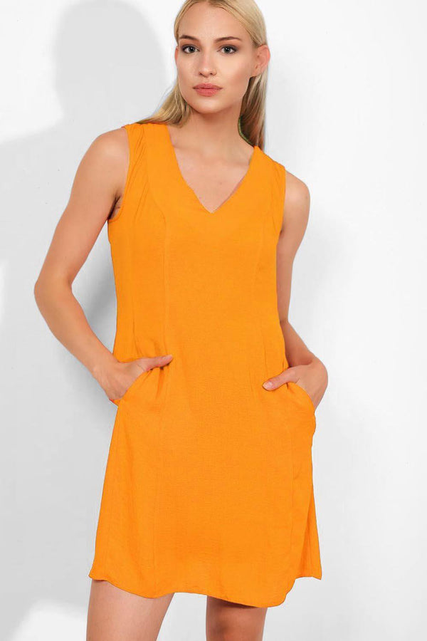 Mustard Sleeveless A-Line Dress - SinglePrice