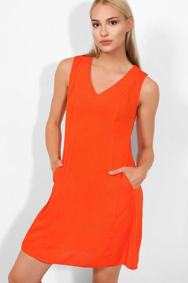 Orange Sleeveless A-Line Dress - SinglePrice