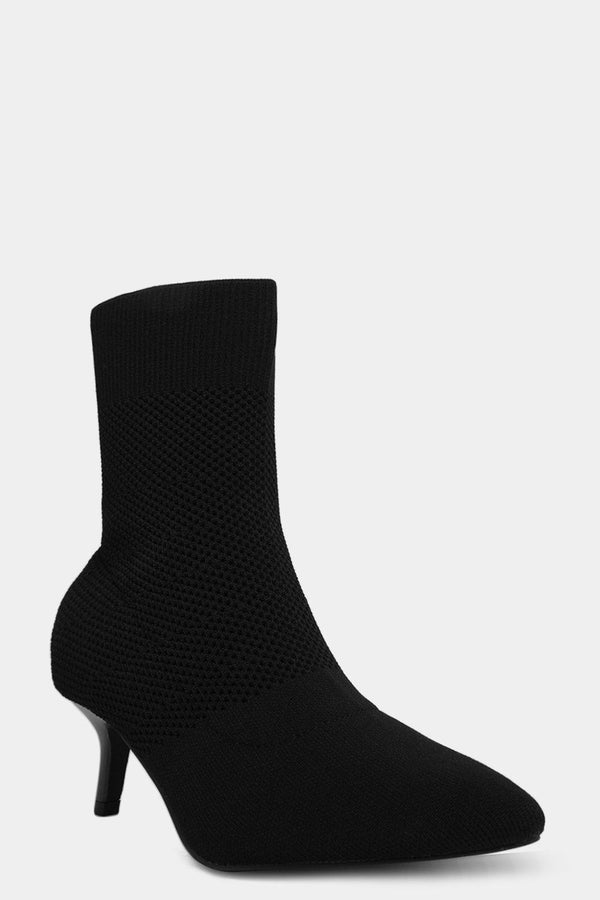Black Net Knit Kitten Boots-SinglePrice