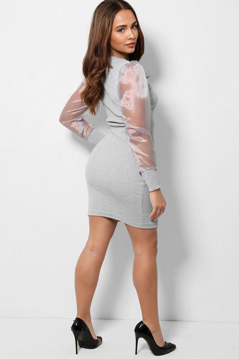 Grey Puff Organza Sleeves High Neck Bodycon Mini Dress - SinglePrice