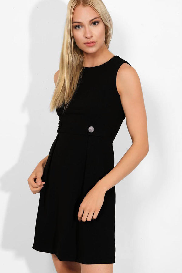 Black Button Details Sleeveless Smart Casual Dress - SinglePrice