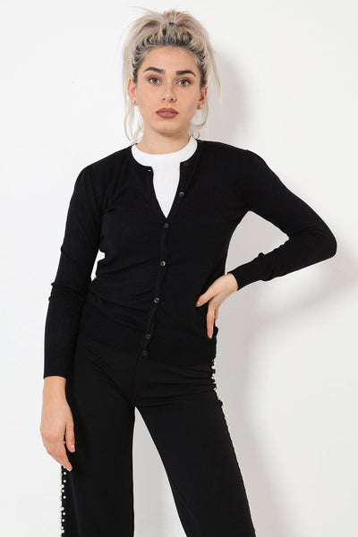 Small Puff Shoulder Classic Black Cardigan-SinglePrice