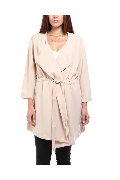 Beige Drawstring Duster Jacket