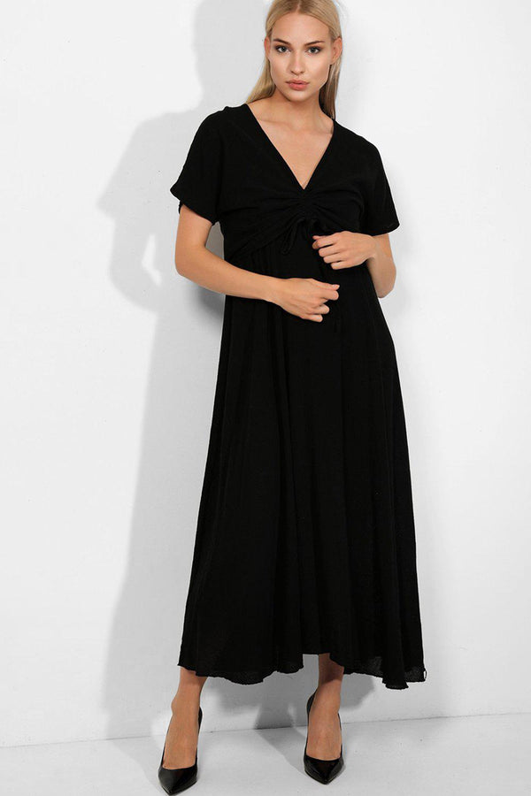 Black 100% Cotton Cami Maxi Dress And Drawstring Top Set - SinglePrice
