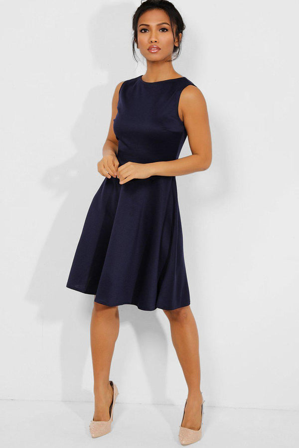All Navy Sleeveless Classic Skater Dress - SinglePrice