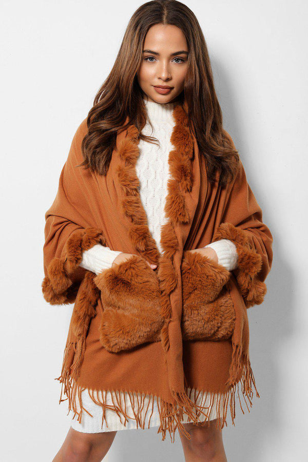 Brown Faux Fur Trims And Pockets Fringed Poncho-SinglePrice
