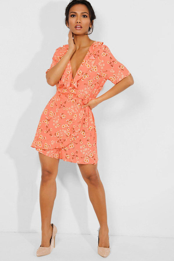 Coral Floral Print Frilled Trims Wrap Playsuit - SinglePrice