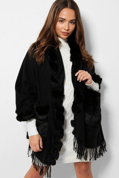 Black Faux Fur Trims And Pockets Fringed Poncho