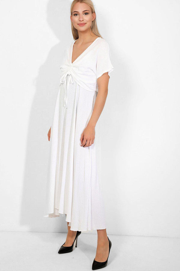 White 100% Cotton Cami Maxi Dress And Drawstring Top Set - SinglePrice