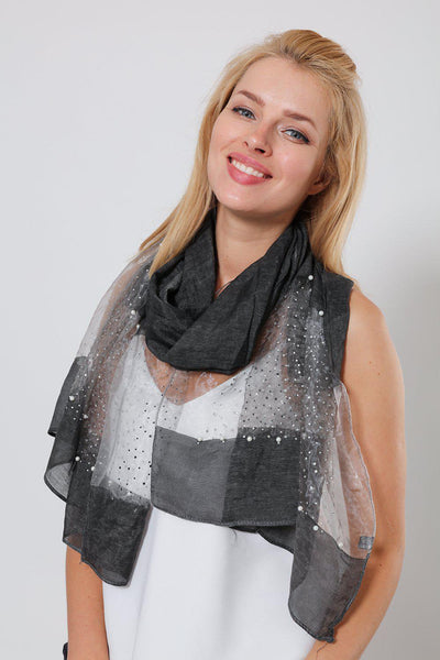 Pearl & Crystals Embellished Black Organza Scarf-SinglePrice
