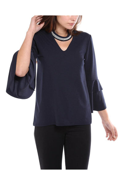 Navy Encrusted Choker Frill Sleeve Blouse-SinglePrice