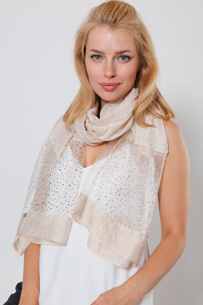 Pearl & Crystals Embellished Taupe Organza Scarf-SinglePrice