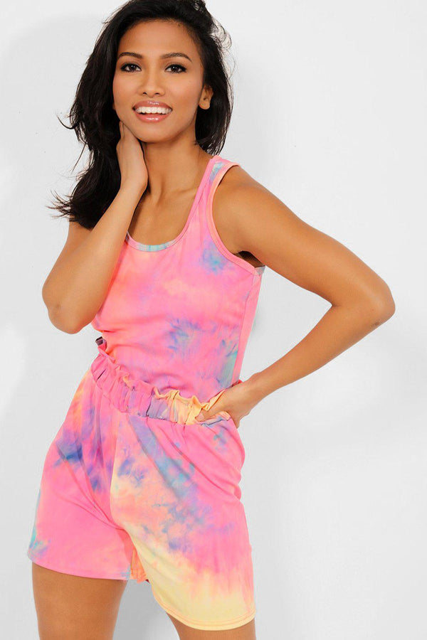 Coral Tie Dye Vest And Paperbag Waist Shorts Set - SinglePrice