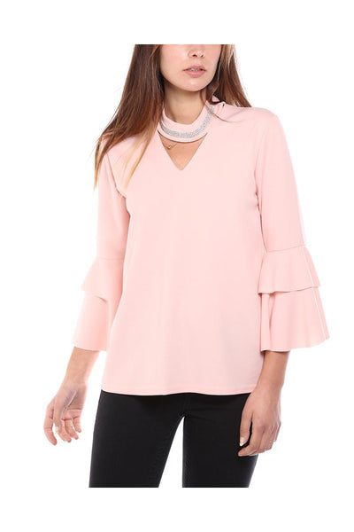 Pink Encrusted Choker Frill Sleeve Blouse-SinglePrice