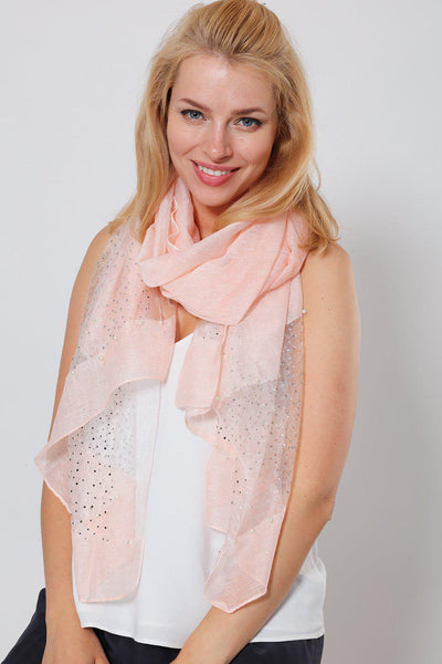 Pearl & Crystals Embellished Pink Organza Scarf-SinglePrice