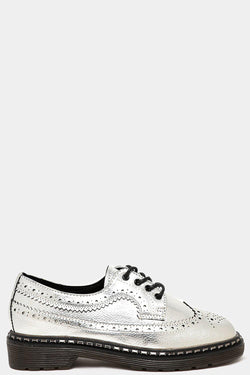 Metallic Silver Brogue Shoes - SinglePrice