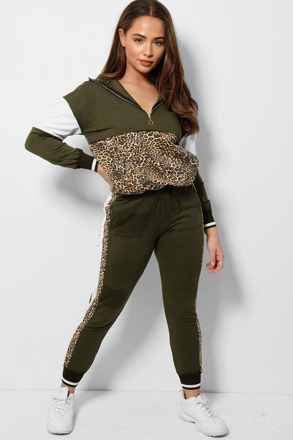 Leopard Panel Khaki Colour Block 2 Piece Tracksuit - SinglePrice
