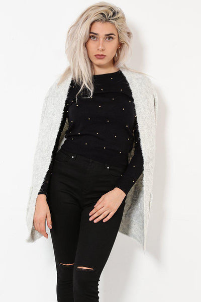Boucle Knit Grey Open Front Cardy-SinglePrice