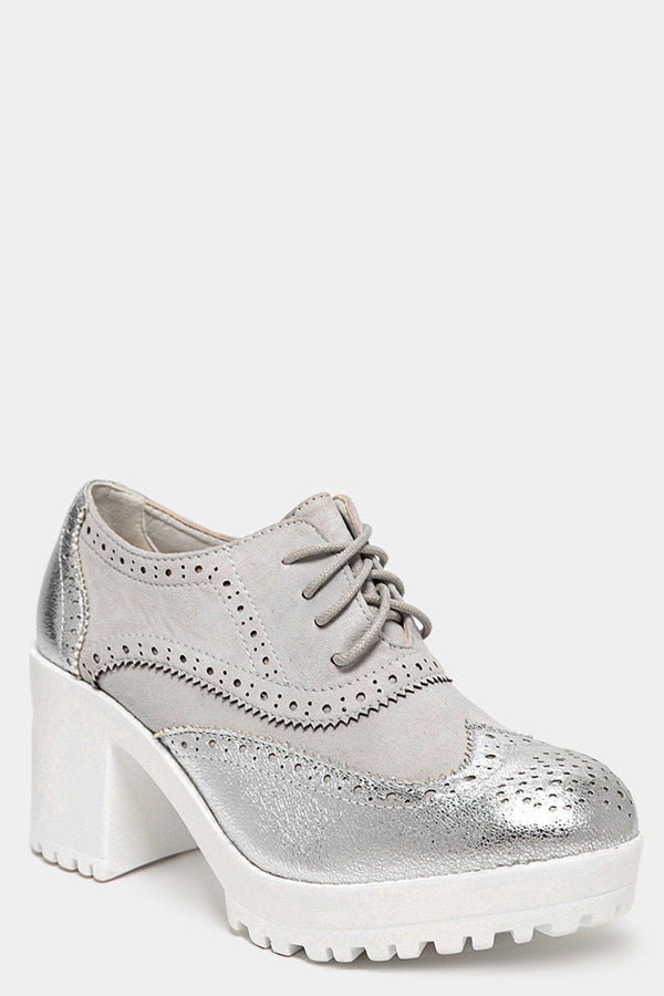 Metallic Silver Brogue Design High Block Heels - SinglePrice