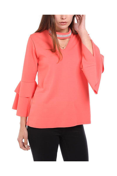 Coral Encrusted Choker Frill Sleeve Blouse-SinglePrice