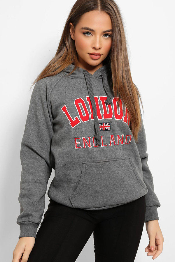 Medium Grey LONDON Slogan Hooded Sweatshirt - SinglePrice