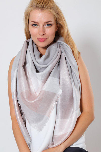 Grey Pink Metallic Shimmer Plaid Square Scarf-SinglePrice