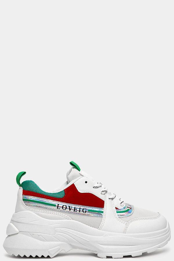 Green Red Panels Slogan White Chunky Trainers - SinglePrice