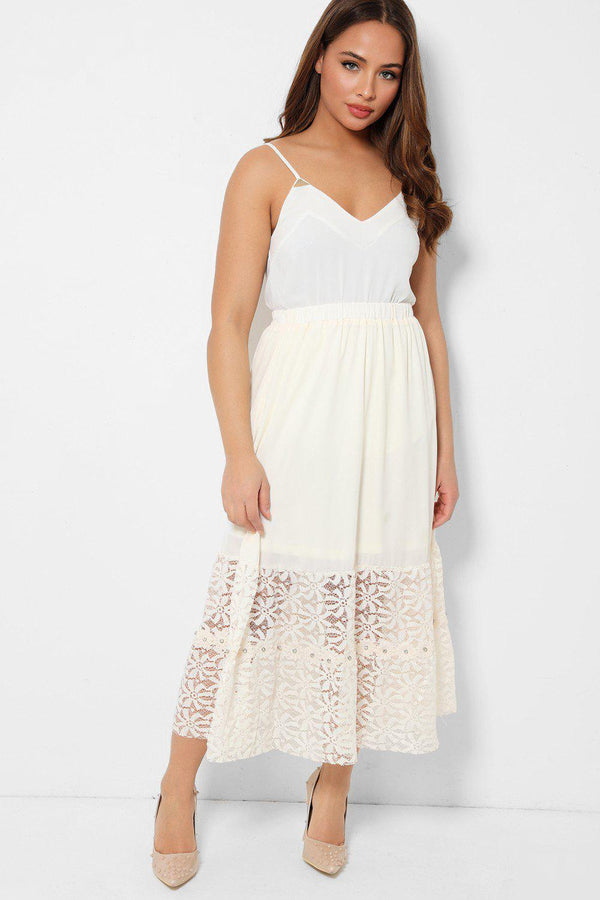 Light Beige Encrusted Floral Lace Hem Skirt - SinglePrice