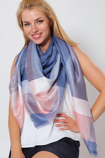 Blue Pink Metallic Shimmer Plaid Square Scarf-SinglePrice