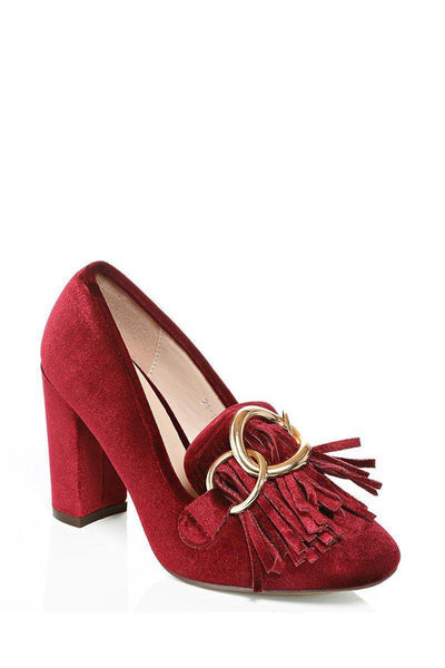 Red Chain Detail Velvet Block Heels-SinglePrice