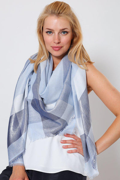 Mixed Blues Metallic Shimmer Plaid Square Scarf-SinglePrice