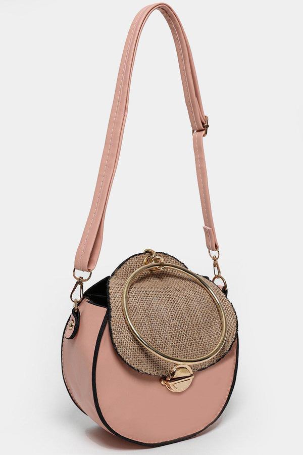 Jute Flap Pink Round Cross Body Bag-SinglePrice