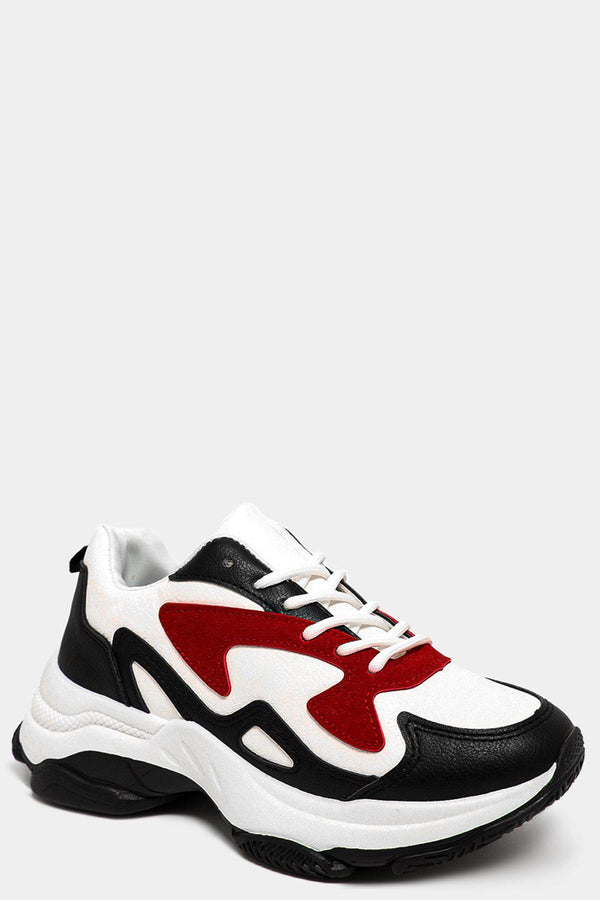 Black Red Colourblock Mixed Tones White Chunky Trainers-SinglePrice