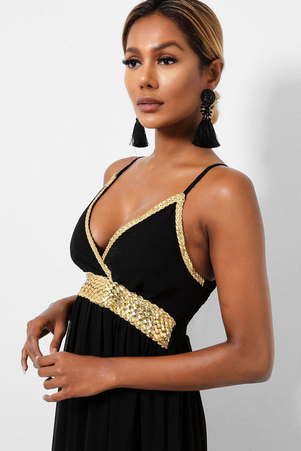 Gold Braided Details Black Maxi Dress-SinglePrice