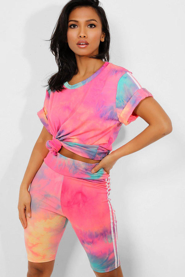 Coral Tie-Dye T-Shirt And Cycling Shorts 2 Piece Set - SinglePrice