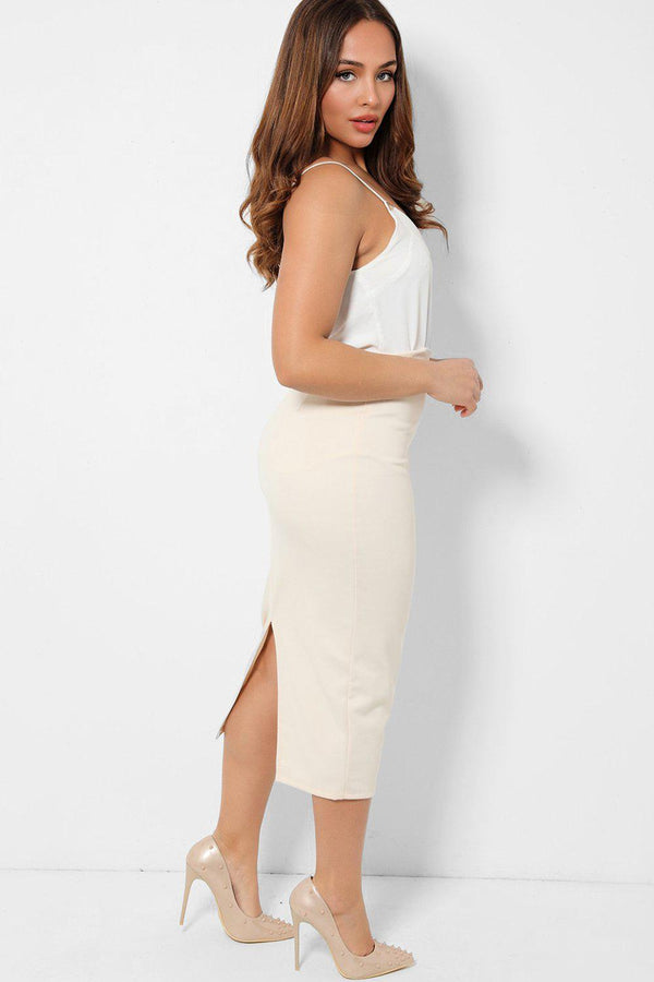 Cream Back Split Midaxi Pencil Skirt - SinglePrice